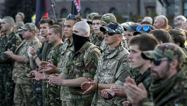 Members of the far-right radical group Right Sector and their supporters attend an anti-government rally in Kiev, Ukraine, July 21, 2015 - Sputnik International