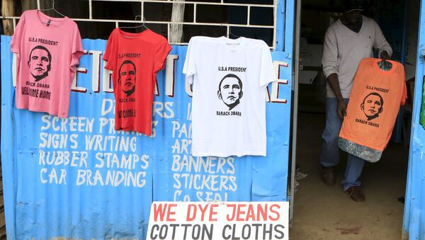 A t-shirt newly printed with the image of U.S. President Barack Obama, ahead of his scheduled state visit, in Kenya's capital Nairobi July 23, 2015. - Sputnik International