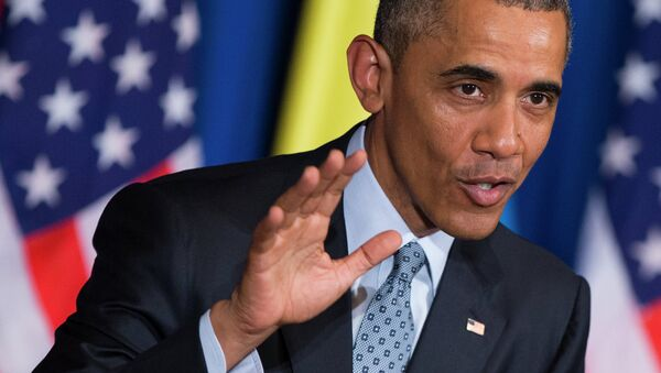 President Barack Obama speaks during a joint news conference with Ethiopian Prime Minister Hailemariam Desalegn, Monday, July 27, 2015, at the National Palace in Addis Ababa - Sputnik International