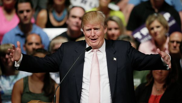 Republican presidential candidate Donald Trump speaks at a rally and picnic, Saturday, July 25, 2015, in Oskaloosa, Iowa - Sputnik International