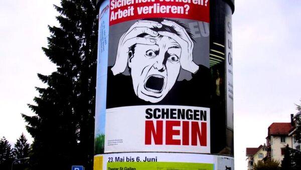 An anti-Schengen poster in Germany - Sputnik International