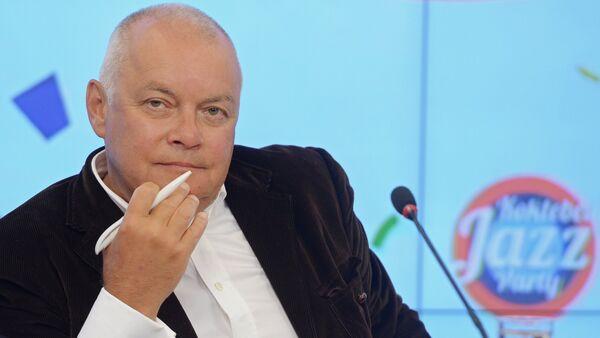 Dmitry Kiselyov, Director-General, Rossiya Segodnya international news agency, attending a press conference on the international Koktebel Jazz Party, held at the multi-media press center Rossiya Segodnya - Sputnik International