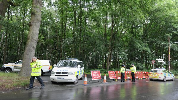Police stand by a closed road near the scene of a light plane crash, at Oulton Park, in Cheshire, England - Sputnik International