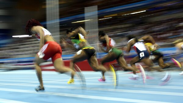 Athletes compete in the Women 60 m Final event at the IAAF World Indoor Athletics Championships in the Ergo Arena in the Polish coastal town of Sopot, on March 9, 2014 - Sputnik International