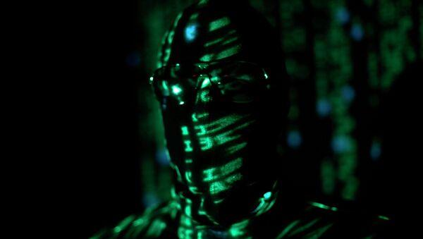 A ninja-style hacker with green matrix code - Sputnik International