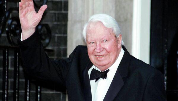 Britain's former Prime Minister Sir Edward Heath arrives at 10 Downing Street, in London Monday, April 29, 2002, where Prime Minister Tony Blair was hosting a celebratory royal Golden Jubilee dinner. - Sputnik International