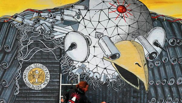 Artist A. Signl, of the artist group Captain Borderline paints the mural 'Surveillance of the fittest' at a wall in Cologne, Germany, Thursday, Oct. 24, 2013.  - Sputnik International