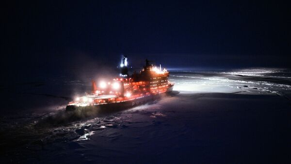 A helicopter view of NS 50 Let Pobedy nuclear-powered icebreaker sailing toward the North Pole - Sputnik International