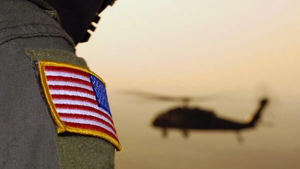 Close-up of a US Flag patch as a US Army (USA) UH-60A Black Hawk (Blackhawk) helicopter - Sputnik International