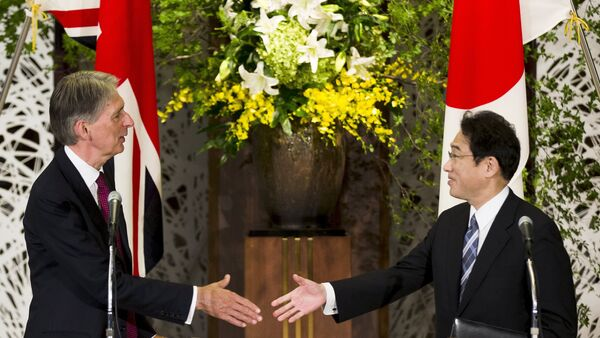 Japan's Foreign Minister Fumio Kishida (R) shakes hands with British Foreign Secretary Philip Hammond after a news conference about the 4th UK-Japan Strategic Dialogue at Iikura House in Tokyo - Sputnik International