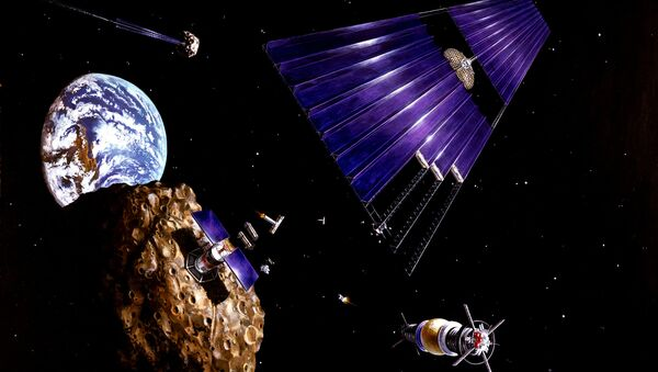 This painting shows an asteroid mining mission to an Earth-approaching asteroid - Sputnik International