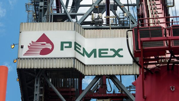 The PEMEX logotype on the tower of the drilling tower of La Muralla IV exploration oil rig, operated by Mexican company Grupo R and working for Mexico's state-owned oil company PEMEX - Sputnik International