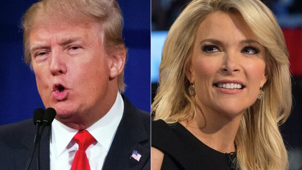 Republican presidential candidate Donald Trump and Fox News Channel host and moderator Megyn Kelly during the first Republican presidential debate. - Sputnik International