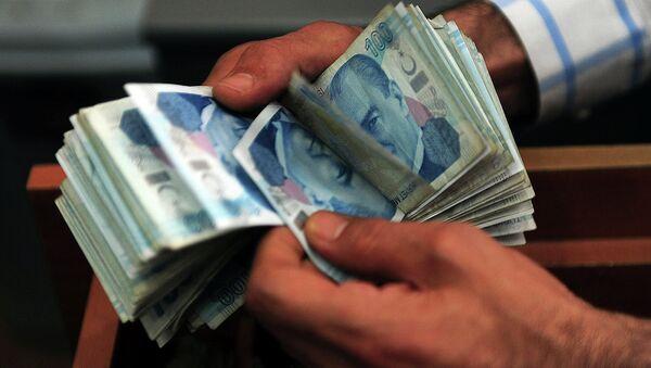 An exchange office worker counts Turkish lira banknotes in Istanbul on June 8, 2015 - Sputnik International