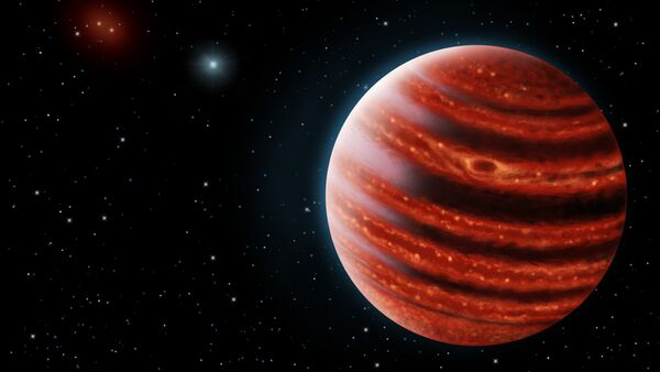 An artistic conception of the Jupiter-like exoplanet, 51 Eri b, seen in the near-infrared light that shows the hot layers deep in its atmosphere glowing through clouds - Sputnik International