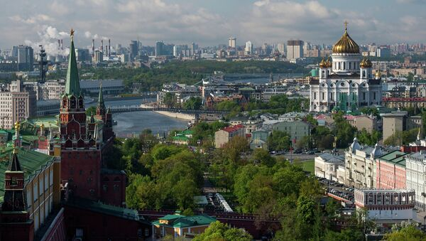 View of the Moscow Kremlin towers, Alexander Garden and the Cathedral of Christ the Savior. - Sputnik International