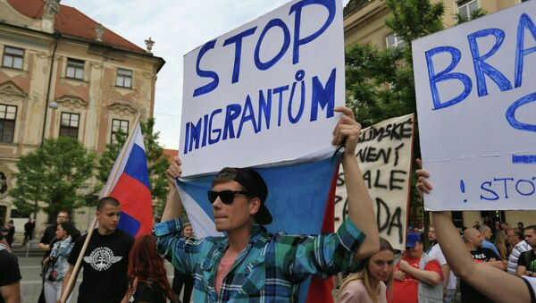 Anti-migrants protesters hold banners reading 'Stop Immigration' on June 26, 2015 in Brno, Czech Republic during an anti-Islam and immigration rally - Sputnik International