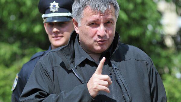 Ukrainian Minister of Interior Avakov visits patrol police training center in Lvov - Sputnik International
