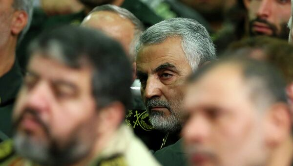 Iranian supreme leader, then chief of the Quds Force of Iran's Revolutionary Guard, Ghasem Soleimani, attends a meeting of the commanders of the Revolutionary Guard with Supreme Leader Ayatollah Ali Khamenei in Tehran, Iran. File photo - Sputnik International