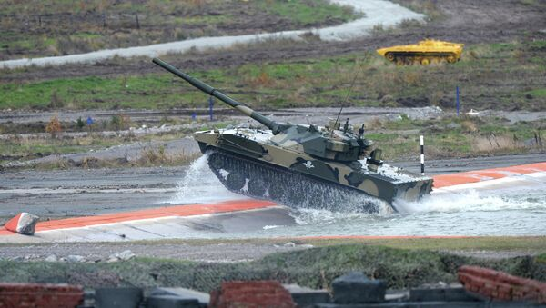 Self-propelled artillery vehicle with a Sprut-SD anti-tank gun during the demonstration of military hardware at the Ninth International Exhibition of Arms, Military Equipment and Ammunition in Nizhny Tagil - Sputnik International