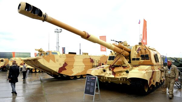 The 2S19 Msta-S self-propelled howitzer at the 9th International Exhibition of Arms,Military Equipment and Ammunition, held in the city of Nizhny Tagil - Sputnik International