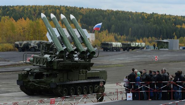 The Buk-M2E missile system at the 9th International Exhibition of Arms, Military Equipment and Ammunition in Nizhny Tagil - Sputnik International