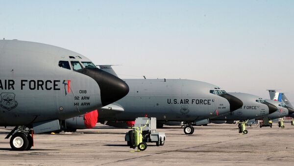 A lineup of US air force KC-135 tanker planes seen at the Manas air base in Bishkek, Kyrgyzstan. File photo - Sputnik International