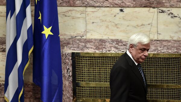 New Greek President Prokopis Pavlopoulos arrives for his swearing in ceremony at parliament in Athens on March 13, 2015 - Sputnik International