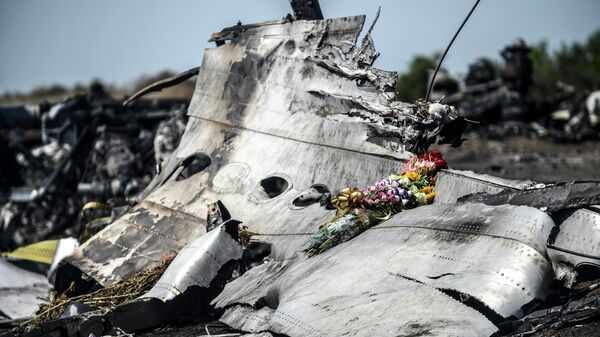 This photo taken on July 26, 2014 shows flowers, left by parents of an Australian victim of the crash, laid on a piece of the Malaysia Airlines plane MH17, near the village of Hrabove (Grabove), in the Donetsk region. - Sputnik International