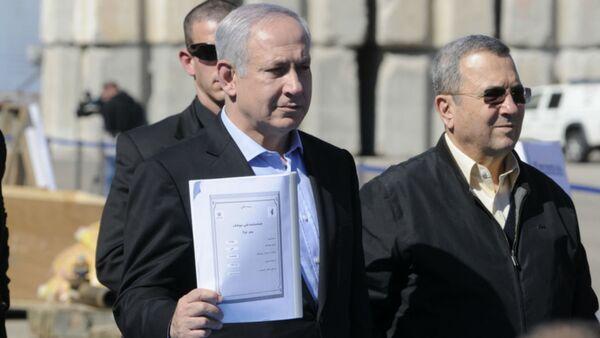 Prime Minister Mr. Benjamin Netanyahu and Defense Minister, Mr. Ehud Barak hold an Iranian instruction manual for the C-704 anti-ship missile. - Sputnik International
