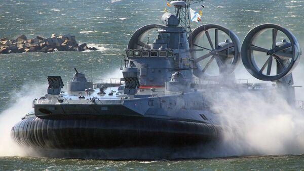 The Yevgeny Kocheshkov small landing hovercraft during a rehearsal of a Navy Day Parade in the Marine Canal of Baltiysk. - Sputnik International