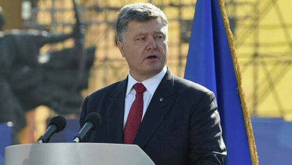Ukrainian President Petro Poroshenko during a march on Independence Day in Kiev - Sputnik International