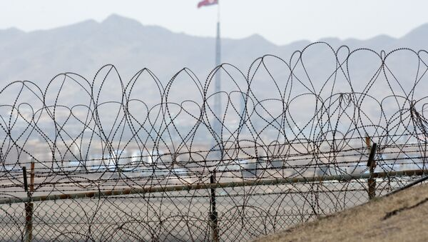 A North Korean flag behind the barbed wire of the Demilitarized Zone (DMZS) in the Joint Security Area near Panmunjom on the border between North and South Korea - Sputnik International