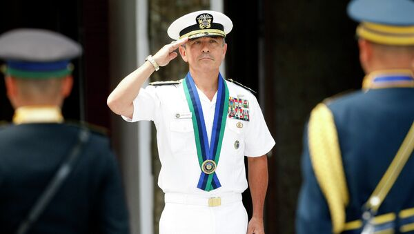US Navy Admiral Harry B Harris salutes during welcoming ceremony at the armed forces headquarters at suburban Quezon city, northeast of Manila, Philippines Wednesday, Aug. 26, 2015 - Sputnik International