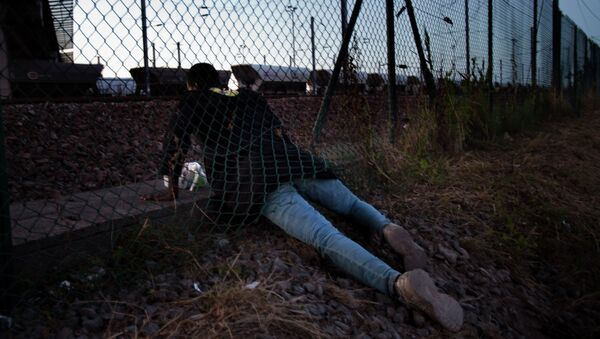 A migrant crawls under a fence as he attempts to access the Channel Tunnel in Calais, northern France, Saturday, Aug. 8, 2015. Some thousands of migrants have been crossing fence border controls near the Channel Tunnel linking France and Britain, trying to board freight trains or trucks destined for Britain - Sputnik International
