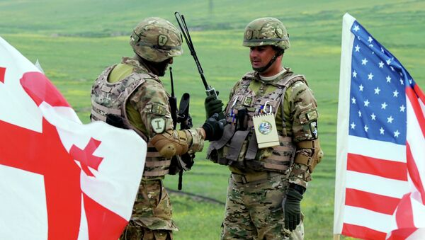 Georgian servicemen takes part in the joint US-Georgian exercise Noble Partner 2015 at the Vaziani training area outside Tbilisi, on May 21, 2015 - Sputnik International