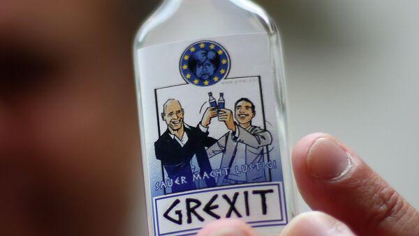 A bottle of vodka lemon Grexit is displayed on June 23, 2015 - Sputnik International