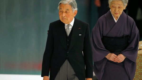 Japan's Emperor Akihito, accompanied by Empress Michiko, leaves after delivering his remarks during a memorial service marking the 70th Anniversary of the end of WWII. - Sputnik International
