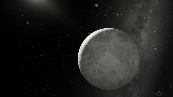 This NASA handout obtained October 21, 2009 shows an artist's concept of the Kuiper Belt Object nicknamed Xena, with its moon dubbed Gabrielle just above - Sputnik International