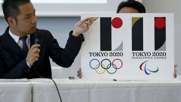 Kenjiro Sano, designer of Tokyo 2020 Olympic and Paralympic Games logos, explains about the designs during a news conference in Tokyo, Japan, August 5, 2015 - Sputnik International