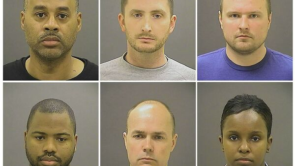 Officer Caesar R. Goodson Jr., Officer Edward M. Nero, Officer Garrett E Miller (top L-R), Officer William G. Porter, Lt. Brian W. Rice, Sgt. Alicia D. White (bottom L-R), are pictured in these undated booking photos provided by the Baltimore Police Department - Sputnik International
