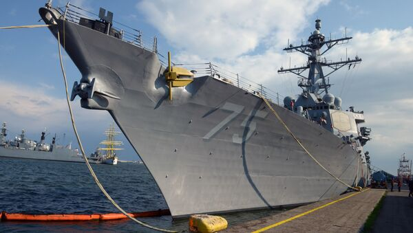 The USS Destroyer Donald Cook is seen at the Constanta shipyard in the Romanian Black Sea port of Constanta, on April 14, 2014 - Sputnik International