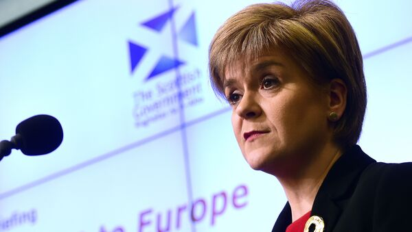 Scotland's First Minister Nicola Sturgeon addresses a speech on Scotland's commitment to Europe at an European Policy Centre (EPC) event in Brussels, on June 2, 2015 - Sputnik International