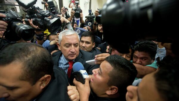 Guatemala's President Otto Perez Molina arrives to court to face corruption charges, after submitting his resignation in Guatemala City, Thursday, Sept. 3, 2015. - Sputnik International