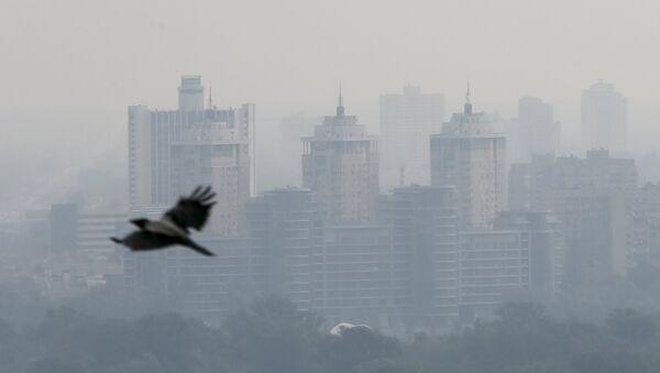 Buildings are seen amid a layer of smoke in Kiev, Ukraine, September 3, 2015 - Sputnik International