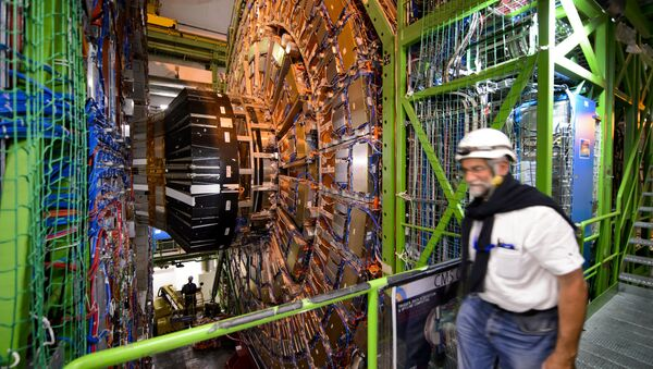A worker walks past the CERN's Compact Muon Solenoid (CMS), a general-purpose detector at the Large Hadron Collider (LHC), during maintenance works - Sputnik International