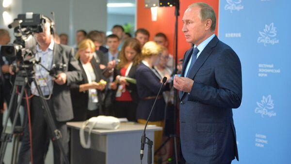 September 4, 2015. Russian President Vladimir Putin addresses journalists at the the Eastern Economic Forum in Vladivostok. - Sputnik International