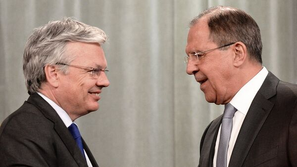 Russian Foreign Minister Sergey Lavrov, right, and Belgian Foreign Minister, Chairman of the Committee of Ministers of the Council of Europe Didier Reynders after a news conference in Moscow - Sputnik International