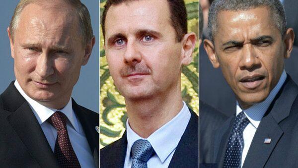Russian President Vladimir Putin, Syrian President Bashar Assad, US President Barack Obama - Sputnik International
