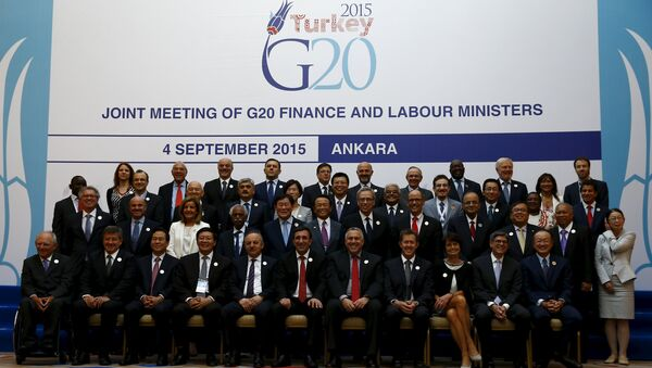 Finance and labour ministers gather for a group photo of the G20 Joint Meeting of Finance and Labour Ministers in Ankara, Turkey, September 4, 2015 - Sputnik International
